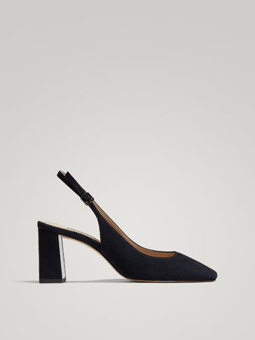 BLUE SUEDE SLINGBACK COURT SHOES