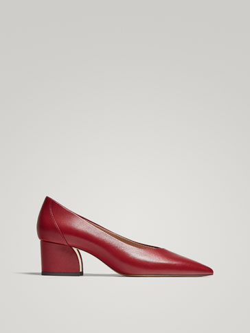 RED LEATHER COURT SHOES
