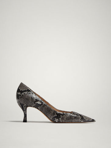 SNAKESKIN PRINT LEATHER HIGH-HEEL COURT SHOES