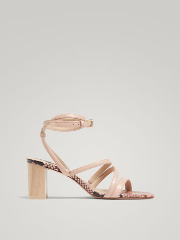 MULTI-STRAP NUDE LEATHER AND WOOD SANDALS