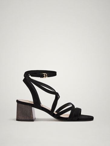 BLACK MULTI-STRAP LEATHER SANDALS