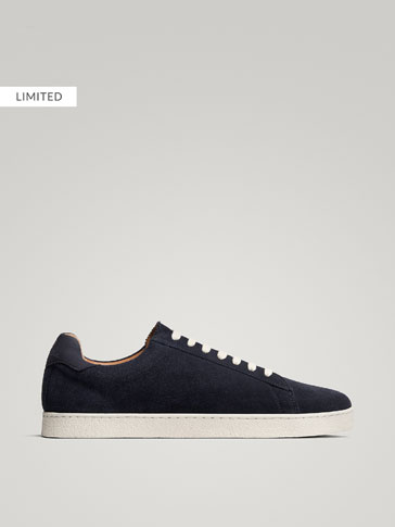 BLUE SPLIT SUEDE LEATHER SNEAKERS