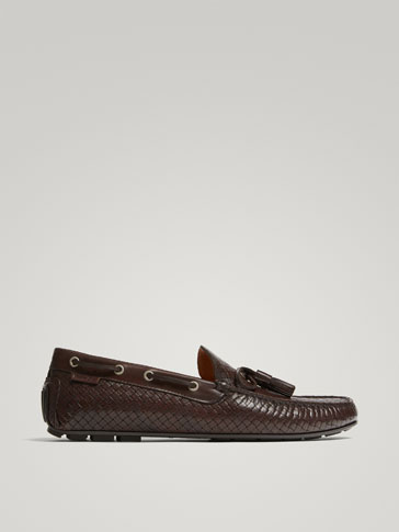 BROWN BRAIDED LEATHER KIOWA LOAFERS