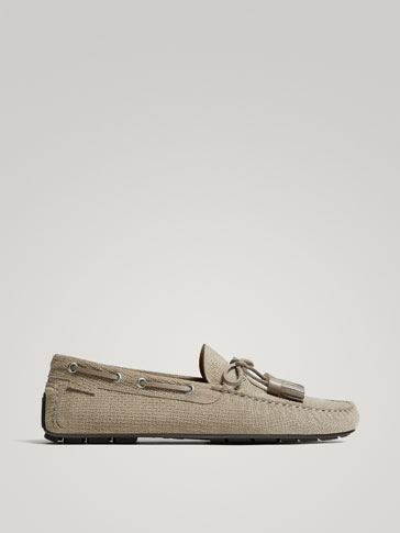 TAUPE SPLIT SUEDE LEATHER KIOWA LOAFERS