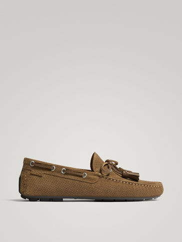 SAND-COLOURED SPLIT SUEDE LOAFERS