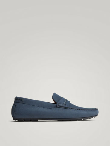 Blue Leather Kiowa Loafers by Massimo Dutti