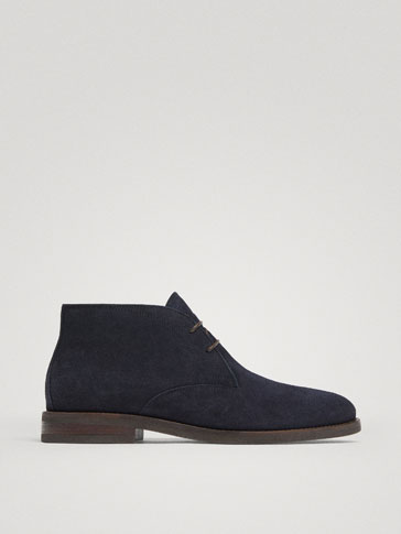 BLUE SPLIT SUEDE LEATHER SAFARI BOOTS