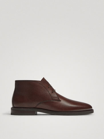 BOTTINES SAFARI CUIR NAPPA MARRON