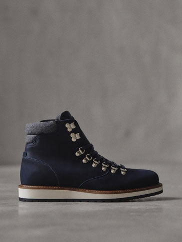 WINTER CAPSULE BLUE NUBUCK LEATHER MOUNTAIN BOOTS