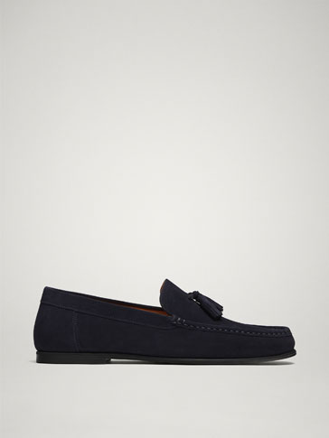 BLUE SPLIT SUEDE LOAFERS