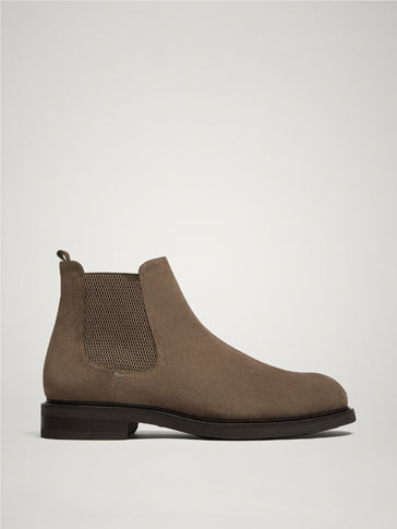 MINK-COLOURED SPLIT SUEDE LEATHER STRETCH ANKLE BOOTS