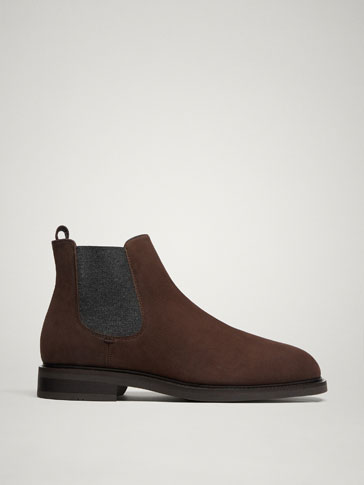 BROWN NUBUCK ELASTIC ANKLE BOOTS
