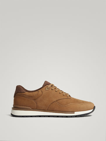 TAN NUBUCK LEATHER SNEAKERS