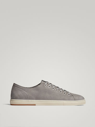 GREY NUBUCK LEATHER SNEAKERS