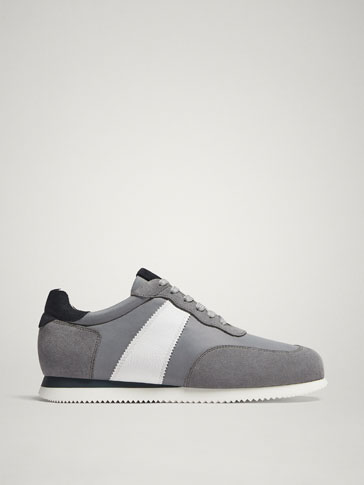 GREY-WHITE CONTRAST LEATHER TRAINERS