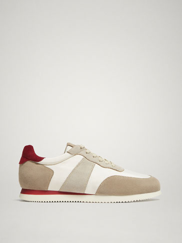 SAND-BURGUNDY CONTRASTING LEATHER SNEAKERS