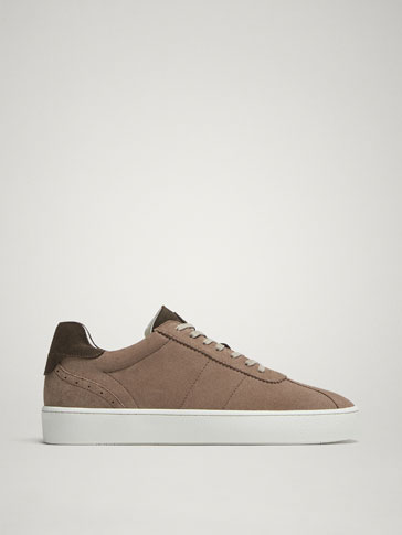 SAND-COLOURED SPLIT SUEDE LEATHER SNEAKERS