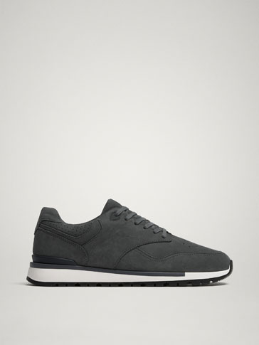 BLUE NUBUCK LEATHER TRAINERS