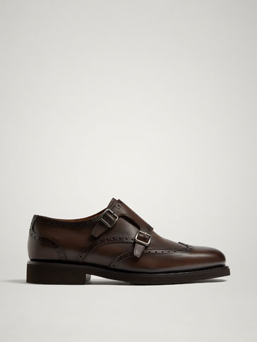 BROWN LEATHER MONK SHOES