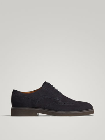 BLUE SPLIT SUEDE LEATHER DERBY SHOES