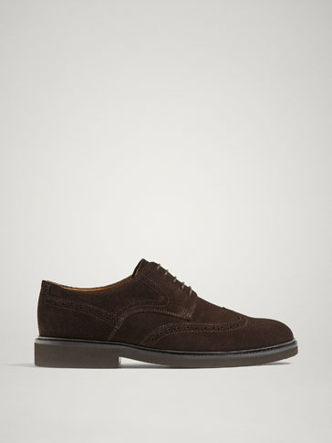 BROWN SPLIT SUEDE LEATHER DERBY SHOES