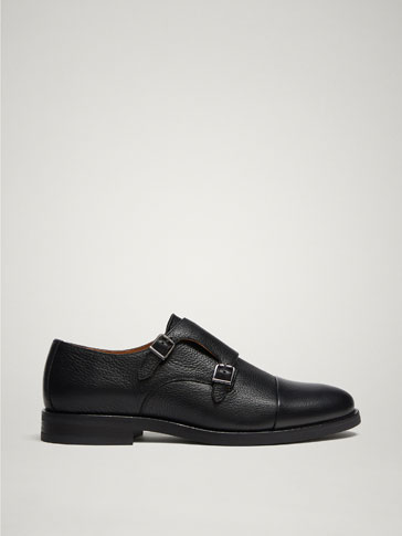 BLACK LEATHER DOUBLE BUCKLE SHOES