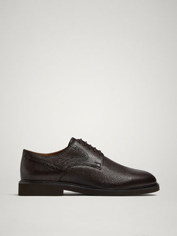 BROWN EMBOSSED LEATHER DERBY SHOES