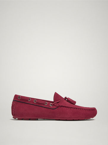 RED SPLIT SUEDE LEATHER KIOWA LOAFERS