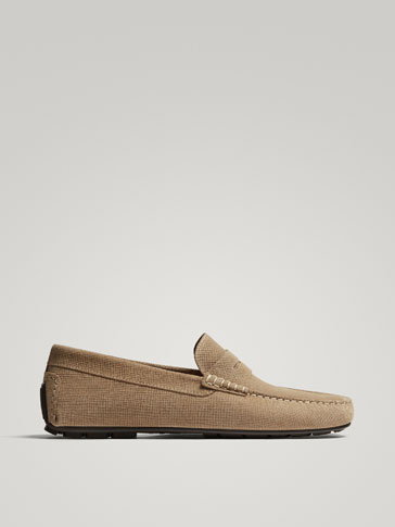 SAND-COLOURED SUEDE LEATHER KIOWA PENNY LOAFERS