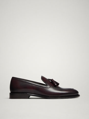 MOCASSINS CUIR BORDEAUX