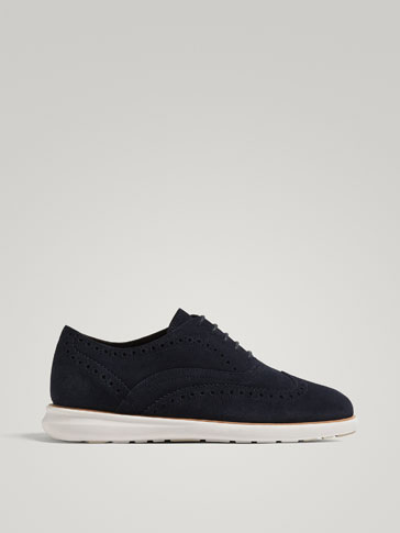 BLUE SPLIT SUEDE LEATHER CASUAL SHOES