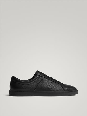 BLACK LEATHER MONOCHROME SNEAKERS