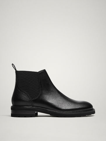 LIMITED EDITION BLACK LINED LEATHER ANKLE BOOTS