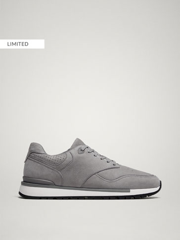 GREY MONOCHROME NUBUCK LEATHER TRAINERS