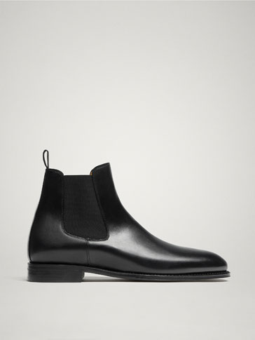 LIMITED EDITION GOODYEAR BLACK LEATHER STRETCH ANKLE BOOTS