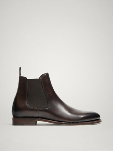 LIMITED EDITION GOODYEAR BROWN LEATHER STRETCH ANKLE BOOTS