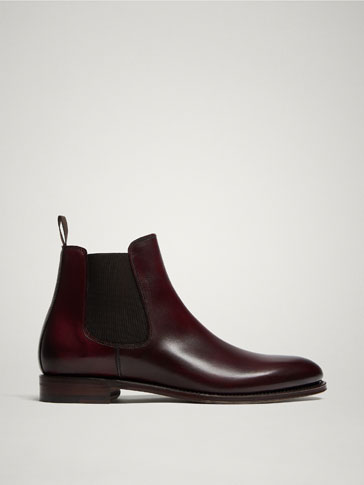 LIMITED EDITION BURGUNDY GOODYEAR LEATHER STRETCH ANKLE BOOTS