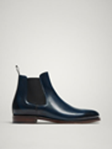 LIMITED EDITION BLUE GOODYEAR LEATHER STRETCH ANKLE BOOTS