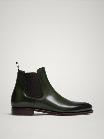LIMITED EDITION GREEN GOODYEAR LEATHER STRETCH ANKLE BOOTS