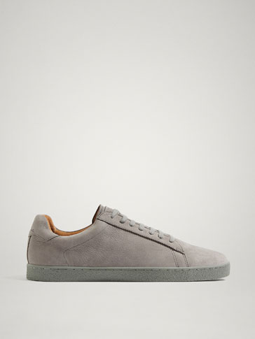 PERSONAL TAILORING GREY NUBUCK LEATHER SNEAKERS