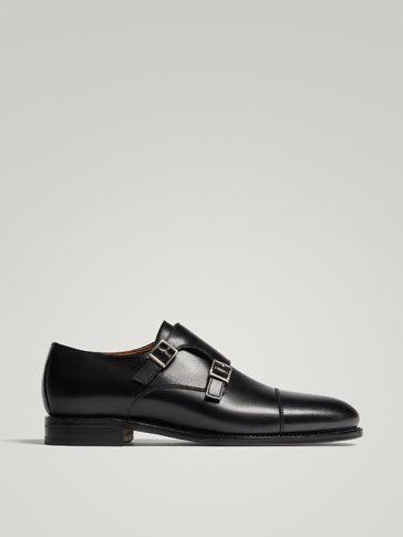 BLACK GOODYEAR LEATHER DOUBLE MONK STRAP SHOES