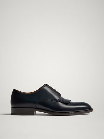 BLUE FRINGED LEATHER DERBY SHOES MADE IN ITALY