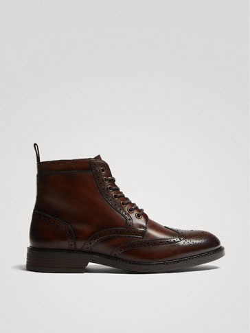 Lined Tan Leather Ankle Boots With Broguing by Massimo Dutti