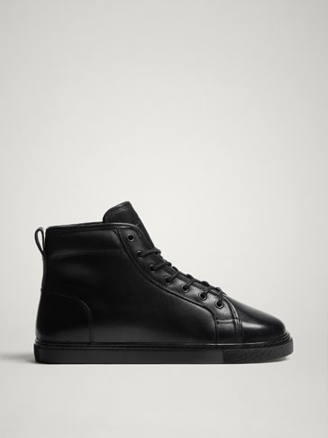 BLACK LINED LEATHER HIGH-TOP TRAINERS