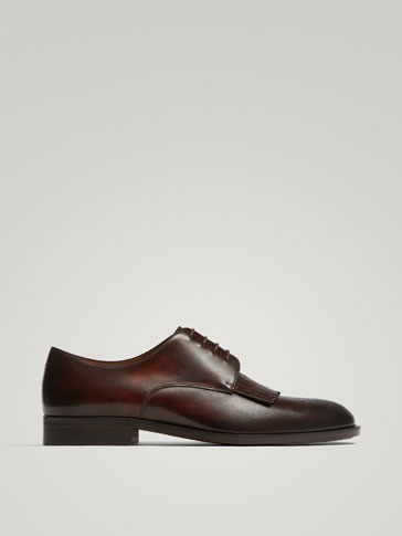 DERBIES EN CUIR MARRON À FRANGES CONFECTIONNÉS EN ITALIE