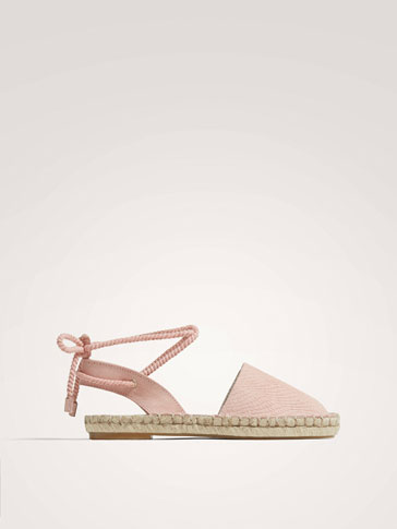 EMBOSSED PINK LEATHER ESPADRILLES