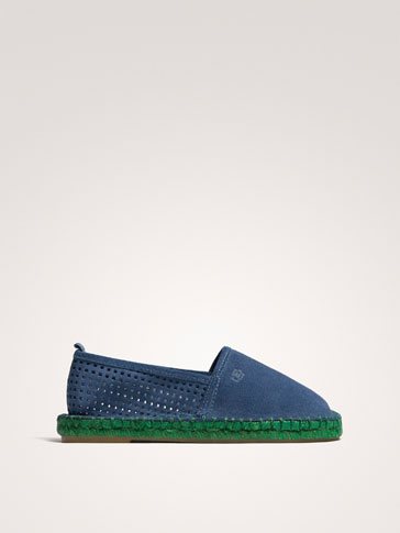 BLUE LEATHER ESPADRILLES