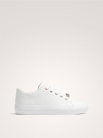 NAPPA LEATHER SNEAKERS WITH GEM DETAIL
