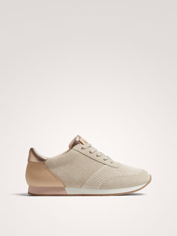 SAND-COLOURED SPLIT SUEDE SNEAKERS