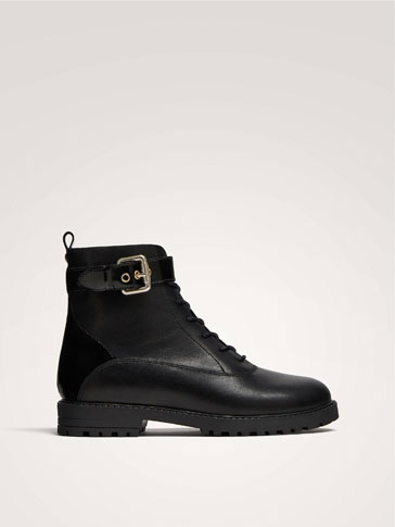 BLACK LEATHER ANKLE BOOTS WITH BUCKLE